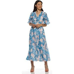 Gal Meets Glam Shelby Floral Ruffle Sleeve Dress